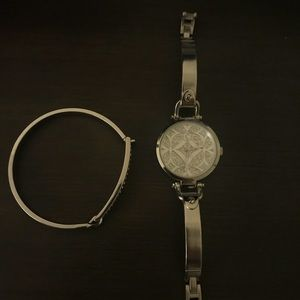 Charming Charlie silver watch and bangle set